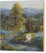 Texas Bluebonnets And Longhorns Wood Print