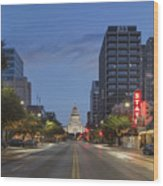 Texas Capitol And The Paramount From Congress Wood Print