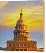 Texas Capitol At Sunset Austin Wood Print by Jeff Steed