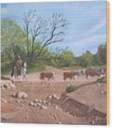 Texas Cattle Drive Wood Print