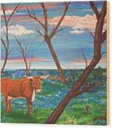 Texas Cow's Blulebonnet Field Wood Print
