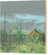Texas Farm House - Digital Painting Wood Print by Merton Allen