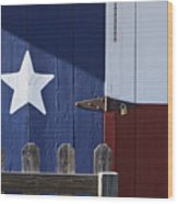 Texas Flag Painted On A House Wood Print by Jeremy Woodhouse