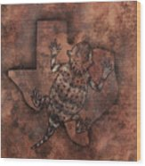 Texas Horned Toad Wood Print