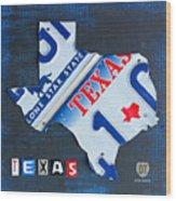 Texas License Plate Map Wood Print
