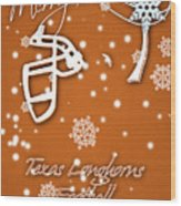 Texas Longhorns Christmas Card Wood Print