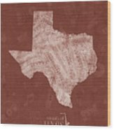 Texas Map Music Notes 4 Wood Print