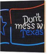 Texas Neon Sign Wood Print