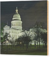 Texas State Capitol Building In Austin At Night Wood Print