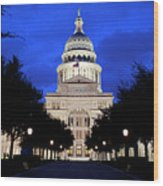 Texas State Capitol Floodlit At Night, Austin, Texas - Stock Image Wood Print