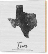 Texas State Map Art - Grunge Silhouette Wood Print