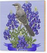 Texas State Mockingbird And Bluebonnet Flower Wood Print by Crista Forest