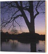 Texas Sunset On The Lake Wood Print