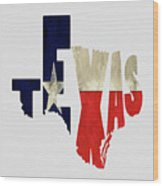 Texas Typography Map Flag Wood Print
