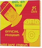 Texas Vs Notre Dame 1934 Program Wood Print