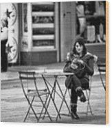 Texting In Times Square Wood Print