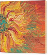 Textured Fire Sunflower Wood Print