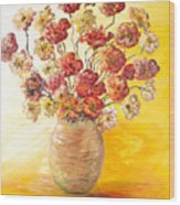 Textured Flowers In A Vase Wood Print