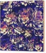 Textured Garden Succulents Wood Print