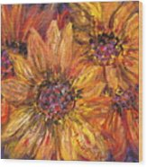 Textured Gold And Red Sunflowers Wood Print