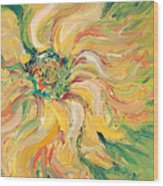 Textured Green Sunflower Wood Print