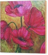 Textured Poppies Wood Print