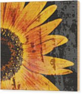 Textured Sunflower Wood Print by Cathie Tyler