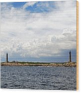 Thacher Island Twin Lights Storm Coming In Wood Print