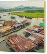 Thai Floating Village Wood Print