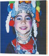 Thai Girl Traditionally Dressed Wood Print