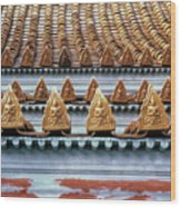 Thai Temple Roof Wood Print