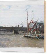 Thames Barges Wood Print