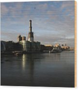 Thamse Waterfront - London Wood Print