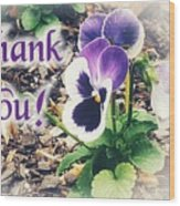 Thank You Pansy Wood Print