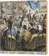 Thanksgiving Cartoon, 1869 Wood Print