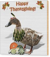 Thanksgiving Indian Duck Wood Print