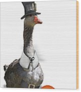 Thanksgiving Pilgrim Goose Wood Print