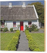 Thatch Roof Cottage Ireland Wood Print