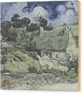 Thatched Cottages At Cordeville Wood Print