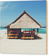 Thatched Roof Cottage/shack On A Perfect White Sand Tropical Beach Bali, Indonesia Wood Print
