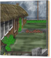 Thatched Roof Cottages In Ireland Wood Print