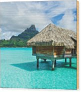 Thatched Roof Honeymoon Bungalow On Bora Bora Wood Print