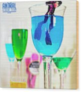 The 1-18 Animal Rescue Team - Cat In Cocktail Glass Wood Print