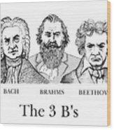 The 3 B's Wood Print