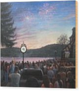 the 4th of July on Lake Mohawk Wood Print by Tim Maher