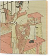 The Actor Segawa Kikunojo II, Possibly As Princess Ayaori In The Play Ima O Sakari Suehiro Genji  Wood Print
