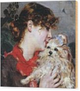 The Actress Rejane And Her Dog Wood Print