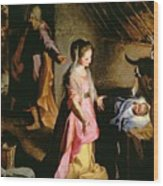 The Adoration Of The Child Wood Print