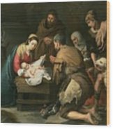 The Adoration Of The Shepherds Wood Print by Bartolome Esteban Murillo
