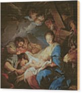 The Adoration Of The Shepherds Wood Print by Charle van Loo